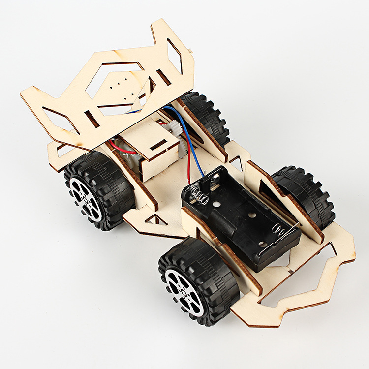 Creative Wooden  DIY Electric Racing Car Model Physic Science Assembly Model Kit Kids Graffiti Educational Toys