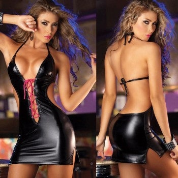 Pu Leather Sexy Lingerie Women Babydoll Underwear Erotic Lingerie Sexy Hot Erotic Costumes Lenceria Sexy Erotic Baby Dolls Dress image
