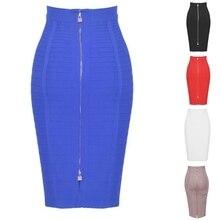 Women High Waist Striped Zipper Bandage Knee Length Bodycon Midi Pencil Skirt E15E