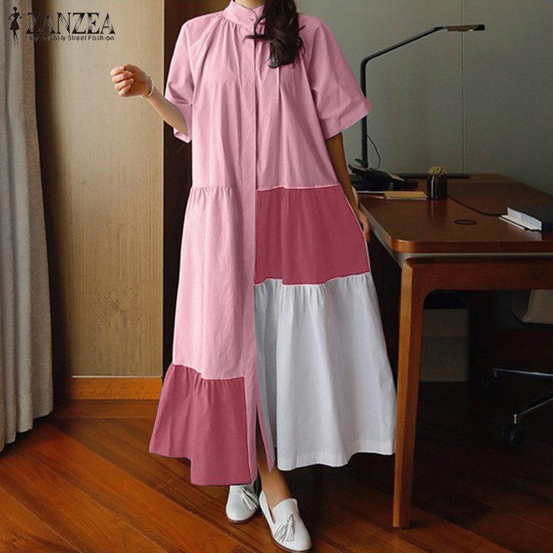 Women Patchwork Sundress ZANZEA Stylish Summer Shirt Dress Casual Button Short Sleeve Maxi Vestidos Female Ruffle Robe Plus Size