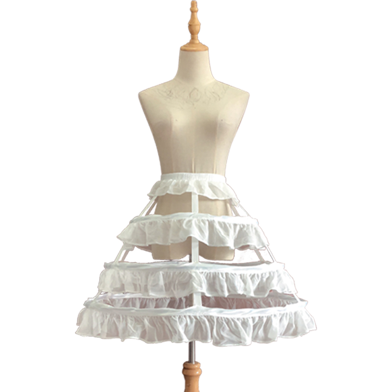 White Wedding Petticoat Ruffled Hollow Lolita Skirt Bird Cage Support 3 Steel Ring Ladies Bridal Wedding Skirt