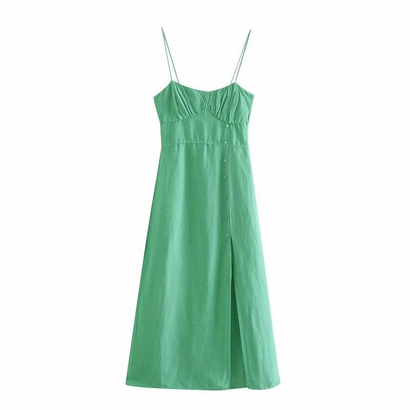Женские платья 2021, модное однотонное зеленое платье миди с открытой спиной, регулируемые платья без рукавов на бретелях, Vestido Feminino Robe Femme