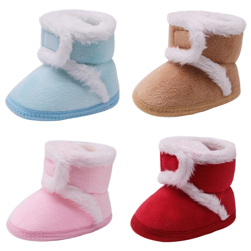 Warm Newborn Baby Shoes Toddler Boots Winter First Walkers Baby Girls Boys Shoes Soft Sole Fur Snow Booties For 0-18M