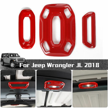 3pc Red ABS Front Reading Light Lamp Frame Cover Trim For 2018 for Jeep Wrangler JL