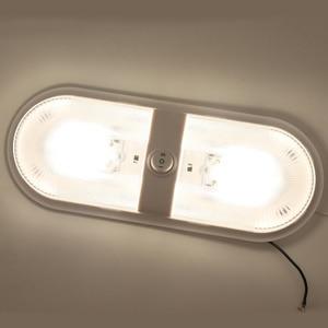 Image 1 - 12 24v rv rv luz de teto cúpula rv lâmpada interior dupla com interruptor para reboque campista branco