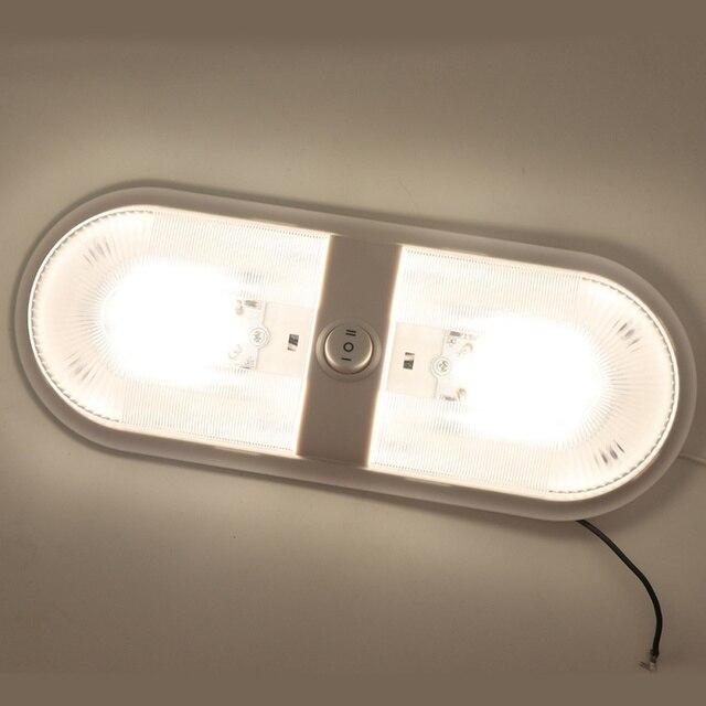 12 24v rv rv luz de teto cúpula rv lâmpada interior dupla com interruptor para reboque campista branco