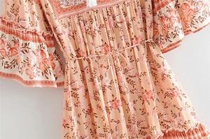 Image 3 - Đầm sang trọng nữ bộ thun in hoa tua rua Cổ Chữ V Bohemian Mini Mùa Hè Nữ Flare Tay Boho Áo vestidos