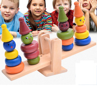 Children Wooden Clown Stacker Balancing Games Sorting, Nesting & Stacking toys Baby & Toddler Toys