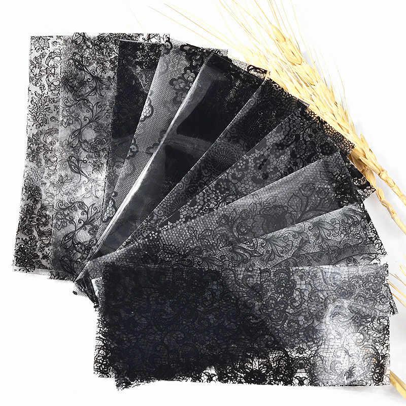 10/1 шт черные кружевные передачи Фольга нейл-арта пикантные обертки Цветочный Дизайн Клей DIY машинка для макияжа инструменты 20x4 см