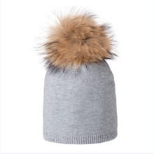 HANGYUNXUANHAO Real Fox Fur Pom Poms Ball Keep Warm Winter Hat for Women Girl 's Wool Hat Knitted Beanies Cap Thick Female Cap цена