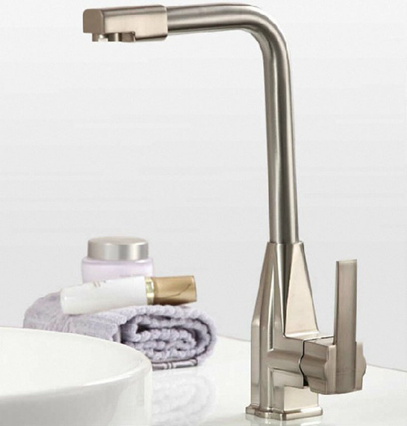 Sanitary Ware Wholesale Kitchen Faucet Zinc Alloy Wire Drawing Cannon Single Bore Hot And Cold Mixing Faucet Kitchen Faucet