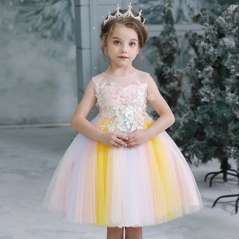 H692bf59a01b549468329fe4cf658782aH Girls Princess Kids Dresses for Girls Tutu Lace Flower Embroidered Ball Gown Baby Girls Clothes Children Wedding Party Dress