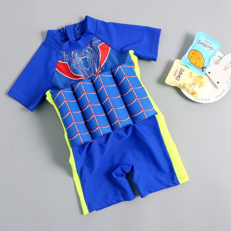 2019 New Style Hot Sales One-piece Buoyancy Bathing Suit Cartoon Pattern Zipper Stand Collar Short Sleeve Boxer BOY'S KID'S Swim