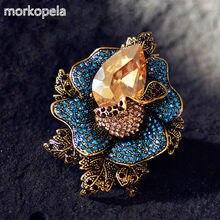 Morkopela grandes broches de cristal barroco flor luxo broches para as mulheres belo buquê broche pinos roupas cachecol clip pin