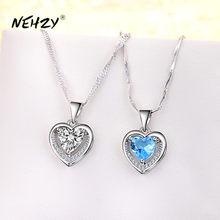 NEHZY 925 ayar gümüş yeni kadın moda takı yüksek kaliteli basit kristal zirkon kalp kolye kolye uzunluğu 45CM