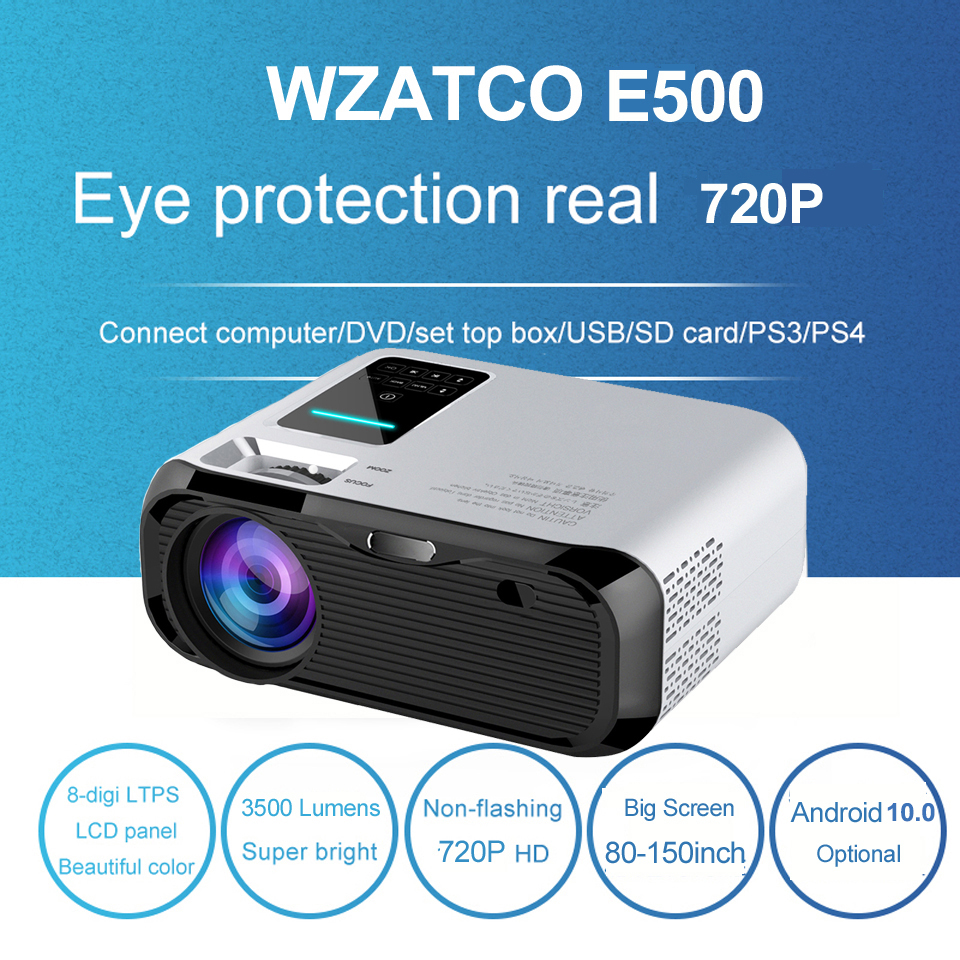 WZATCO E500 Mini LED Projector 1280x720 Android 10.0 WIFI Portable Beamer  Home Cinema theater Wired Sync Display Mobile Beamer    - AliExpress