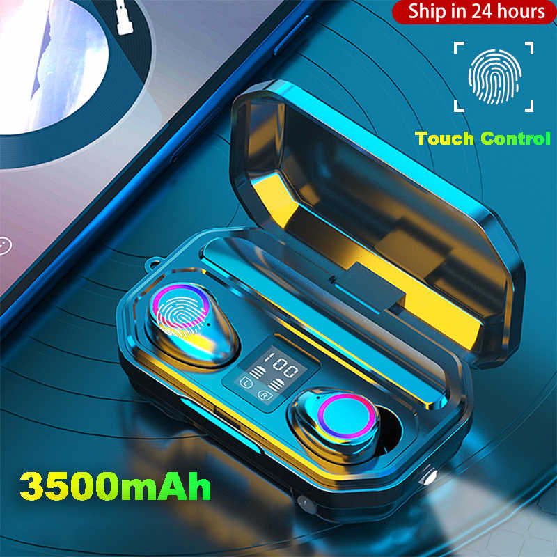 3500MAh Headphone Nirkabel Kontrol Sentuh Bluetooth 5.0 Earphone Earbud TWS Olahraga Headset Membatalkan Kebisingan LED Display Tahan Air