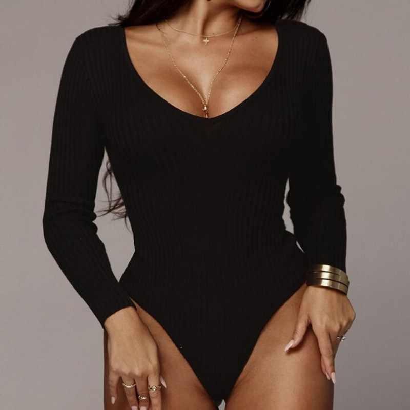 2020 nowy z długim rękawem Off Shoulder prążkowana dzianina Sexy body kobiety V Neck jesień kombinezony slim kobiet kombinezon zimowe body