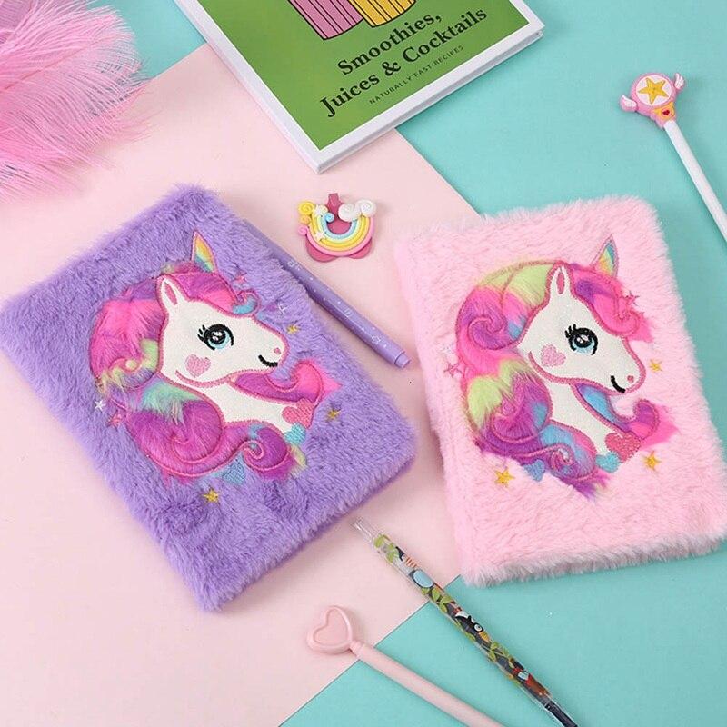 1 Pcs Cartoon Colorful Dream Unicorn Plush Notebooks Girls Portable Pocket Diary Planner Notepad Stationery