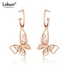 Lokaer-pendientes de animales bohemios para mujer, diseño Original de acero inoxidable, aretes de mariposa de oro rosa, joyería E20235