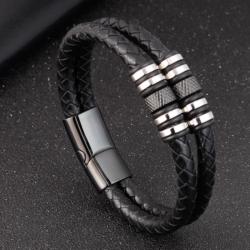 Stainless Steel Accessories Multi-layer Hip Hop Rock Style Black Color Men's Leather Bracelet New Year Gift