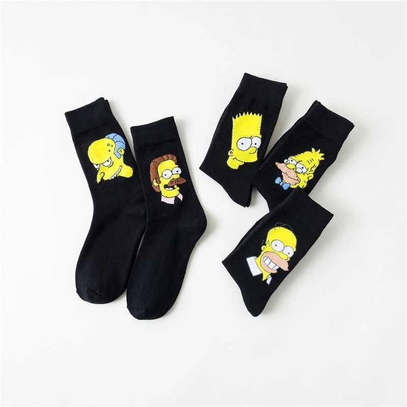 Anime Kartun Homer J Marge Bart Ned Flanders Pria Pecinta Katun Kompresi Streetwear Seni Sock Harajuku Kasual Keringat