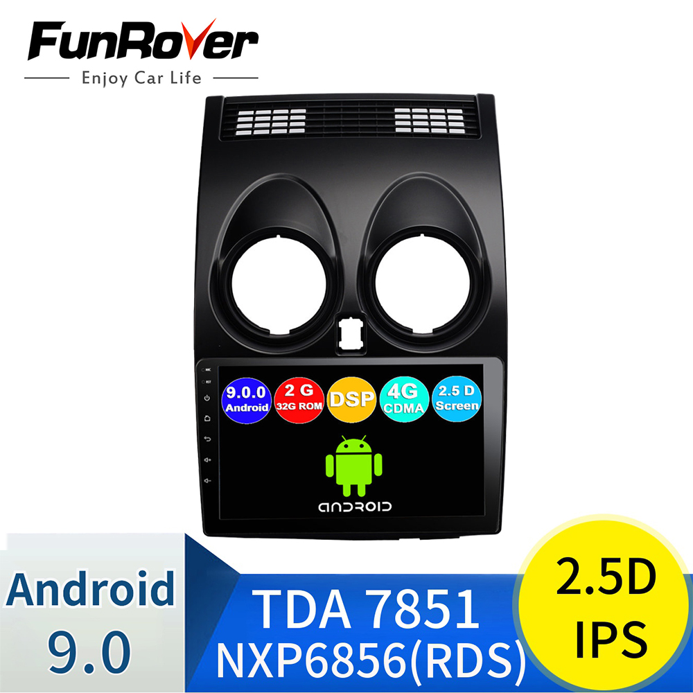 FUNROVER android 9.0 IPS+2.5D car radio multimedia player For Nissan Qashqai 1 2006-2013 J10 dvd gps navi navigation autoradio image