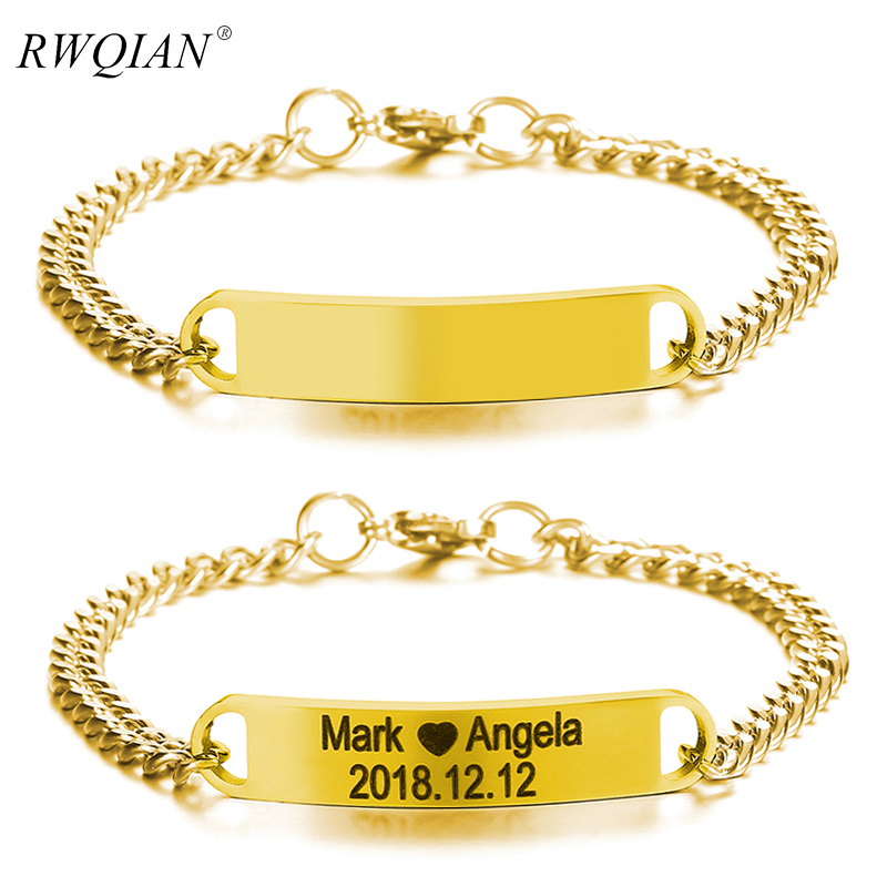 Hiphop Link Chain Bracelets Customize Carve Stainless Steel Gold Silver Color Chains Bracelet 316L Stainless For Men Bar Jewelry