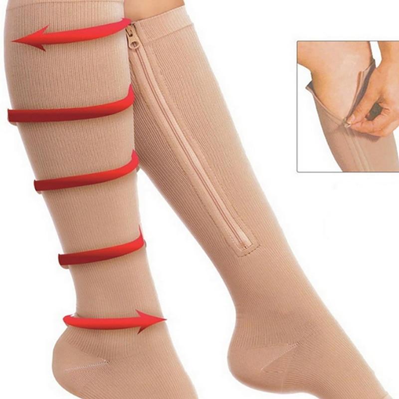 Men Women Compression Socks Support Knee Zipper Socks Female  Anti-Fatigue Open Toe Thin Stretchy Sox High Sports Socks