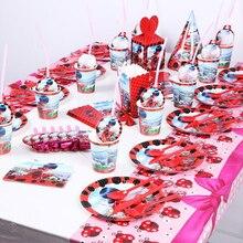 145pcs Set di temi coccinella bomboniere per bambini confezione di compleanno tazze per feste evento piatti tovagliolo Baby Shower stoviglie usa e getta forniture per feste