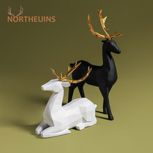 NORTHEUINS Resin Couple Deer Figurines Nordic Animal Statue Lovers Elk Home Office Desktop Decor Accessorie Valentine's Day Gift