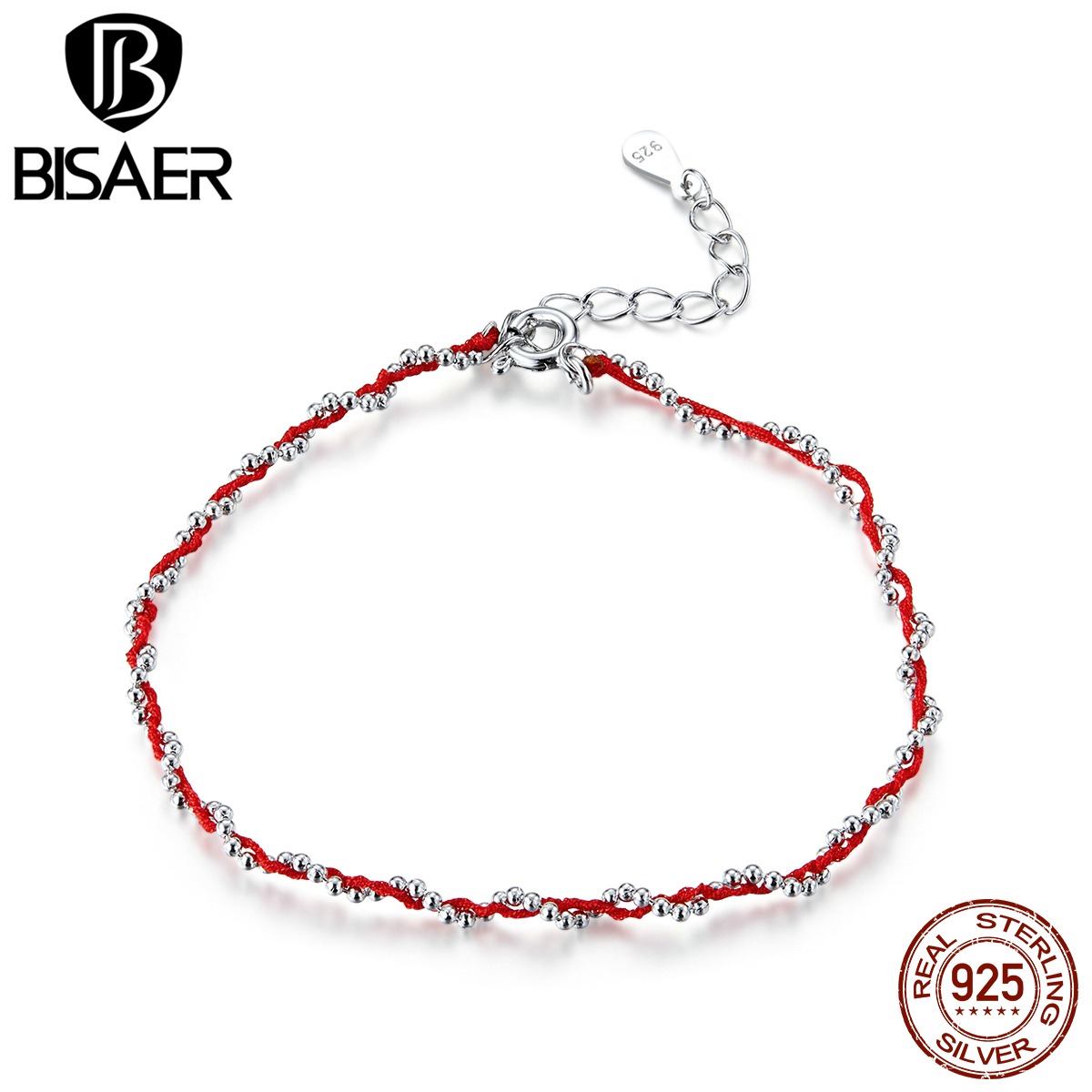 Red Rope Bracelets BISAER 2020 New 925 Sterling Silver Black & Red Chain Lobster Clasp Bracelets For Women Jewelry ECB173