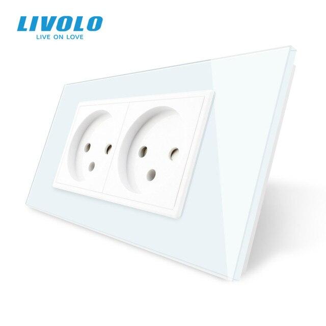 LIVOLO priseคู่อิสราเอลPower 16A Outlet,กระจกนิรภัยสีขาว/แผงกระจกสีดำ,AC 100 ~ 250V,Siamesedออกแบบ,ไม่มีโลโก้