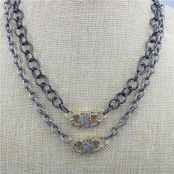 16inch 5str/lot Fashion cz charm necklace,cubic zirconia micro pave clasp charm,handmade cz jewelry wholesale