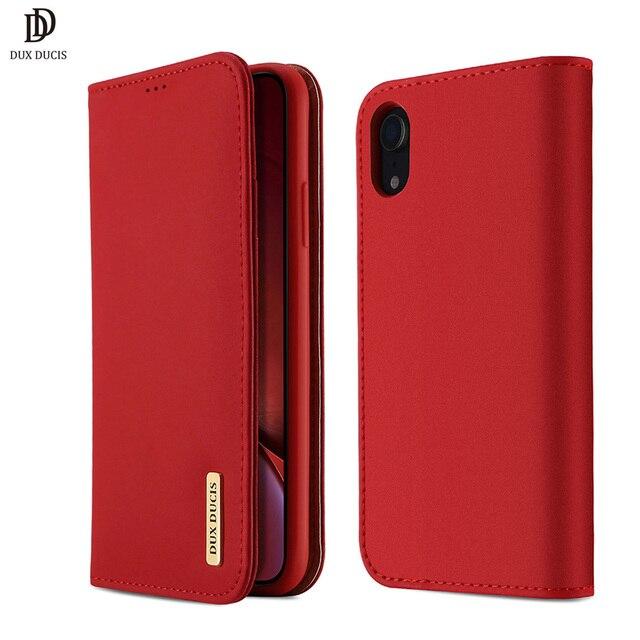 DUX DUCIS حقيقية محفظة جلدية حقيبة لهاتف أي فون XR الفاخرة خمر حقيقي جلدي فليب بطاقة غطاء ل فون Xs ماكس XR iPhoneXr