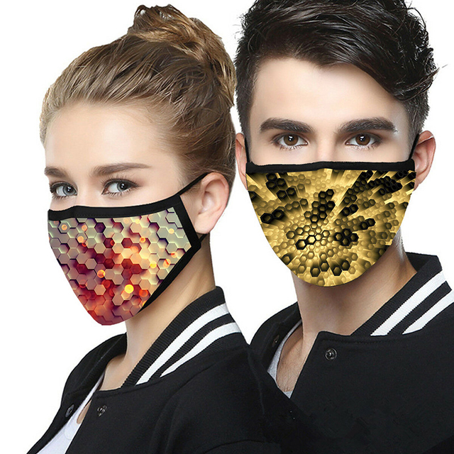 Reusable 3D Print Face Mouth Mask Washable Cottom PM2.5 Filter Mask Flu prevention Bacteria Proof Cloth mask Fast delivery 4