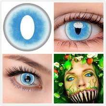 Beautiful Pupil ice Cat Blue Colored Contact Lenses Halloween Cosplay Eyewear Glasses линзы для глаз