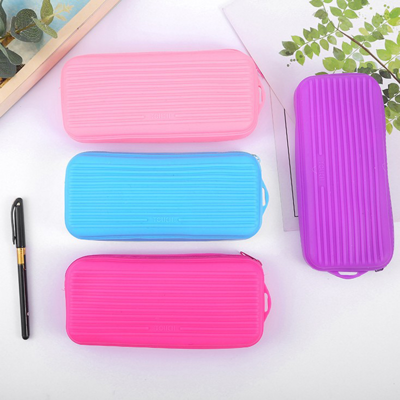 1 Pcs Hot Sale Trunk Love Silicone Pen Bag Pencil Case School Office Supply Storage Stationery Kids Gift
