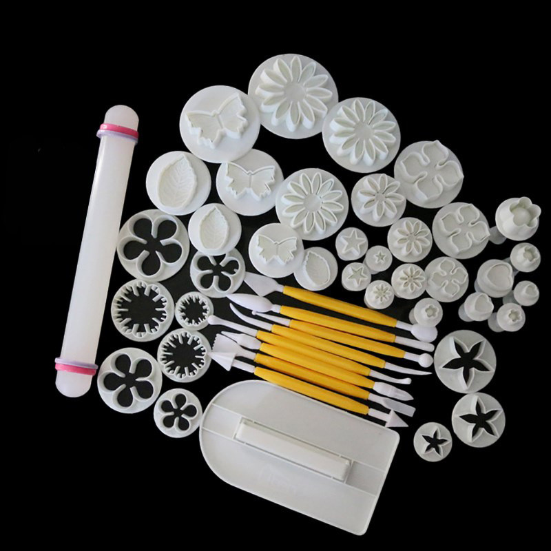 46pcs/lot Sugarcraft <font><b>Cake</b></font> <font><b>Decorating</b></font> <font><b>Tools</b></font> <font><b>Fondant</b></font> Plunger Cutters <font><b>Tools</b></font> Cookie Biscuit <font><b>Cake</b></font> Mold Flower Set Baking <font><b>Accessories</b></font> image