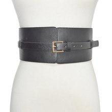 Женский широкий кожаный ремень с эластичной винтажной пряжкой