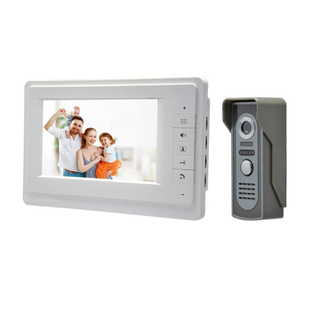 7 Inch HD Color Screen Wired Video Door Phone System Visual Intercom Kit Infrared Night Vision Home Video Interphone