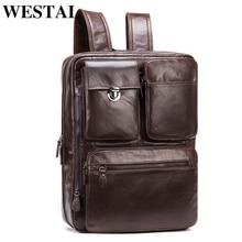 WESTAL Fashion Men's Backpack Genuine Leather School Backpacks for Teenager Travel Backpacks Anti Theft Backpack for Laptop 432