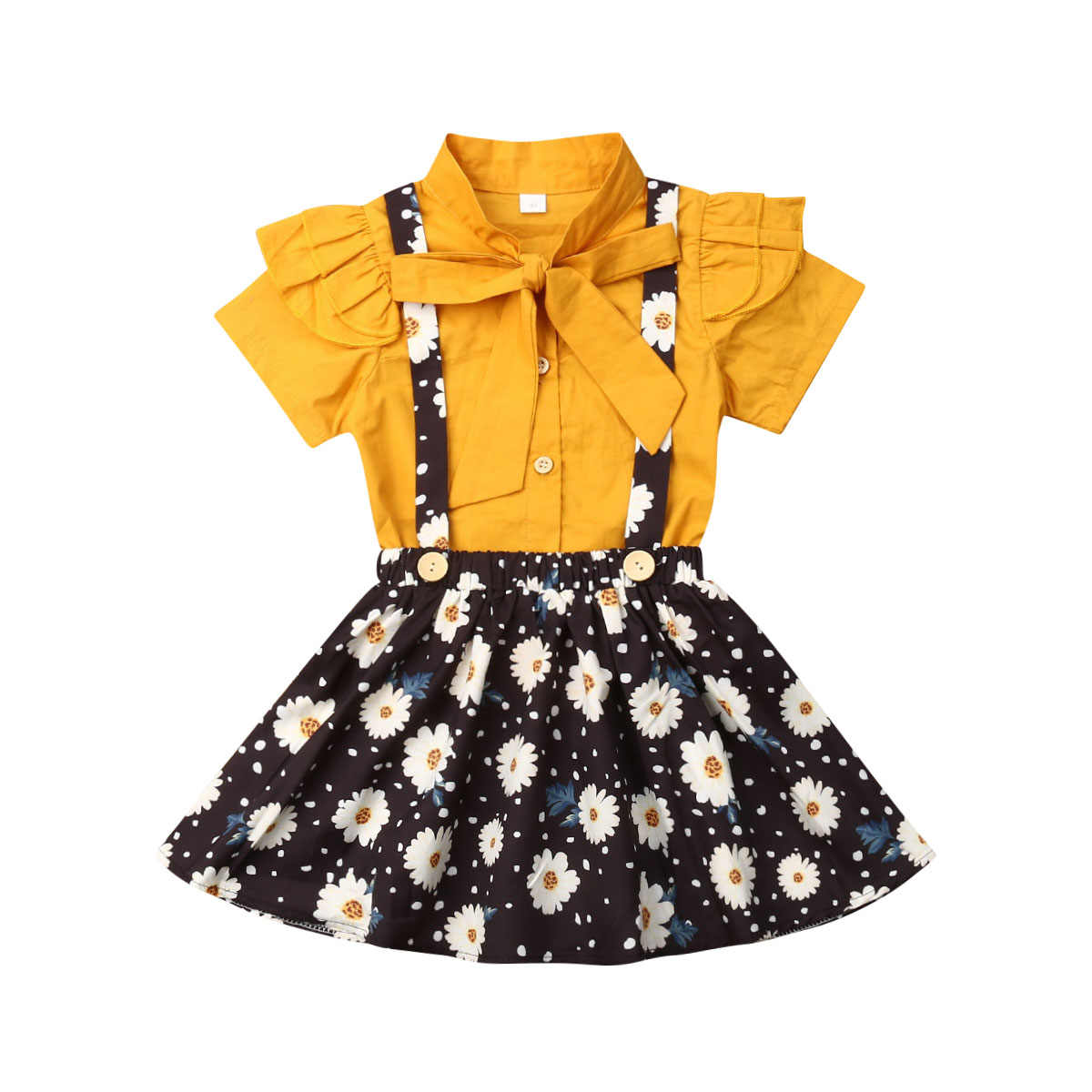 1-4Y Summer Cute Infant Baby Girls Clothes Sets Bow Yellow Solid Shirts Tops+Sunflowers Print Strap Dress 2pcs