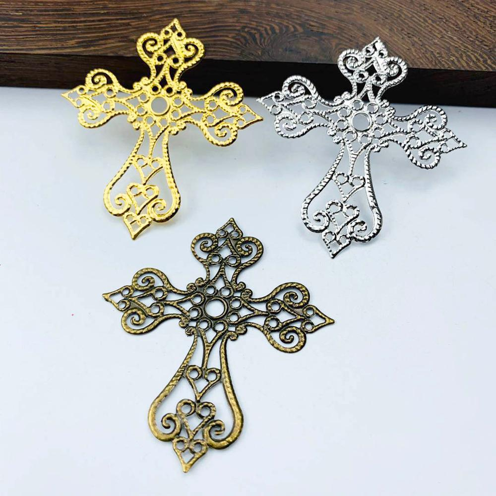 20 Pcs/lot 58x63mm  Metal Filigree Cross Flowers Slice Charms Base Setting Jewelry DIY Components Findings