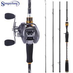 Sougayilang 4Section Portable Fishing Rod with 12+1BB Baitcasting Reel Combo Carbon Fiber Fishing Pole and Baitcasting Wheel Set