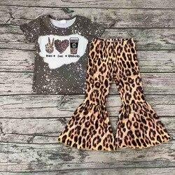 Оптовая продажа, изысканная рубашка с короткими рукавами для маленьких девочек, с принтом в виде кофейных галстуков, штаны с леопардовым ри...