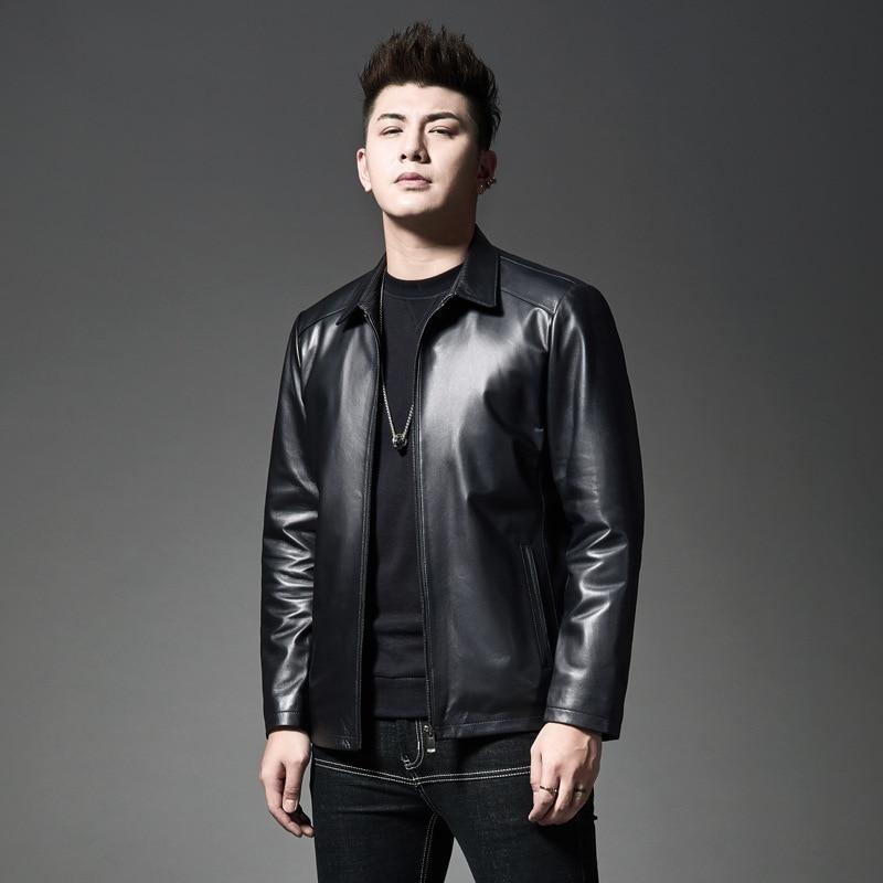 Новый стиль 2019, зимнее мужское кожаное пальто в Корейском стиле, черно белое, с рисунком, городское, модное, с отложным воротником, повседнев... - 3