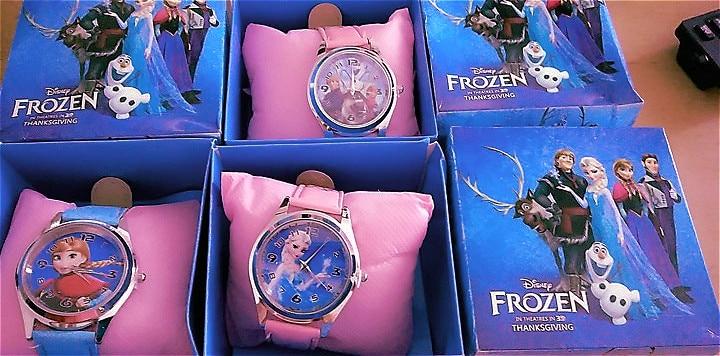Real Picture Children Watches Disney Frozen 2 Child Wrist Watch Cartoon Princess Elsa Kids Watch Girls Gift Boys Party Toys