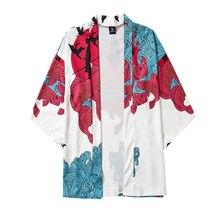 Vêtements traditionnels Style Kimonos grue imprimer japonais Kimono Cardigan Cosplay chemise Blouse pour hommes Yukata Robe hommes chemise #4