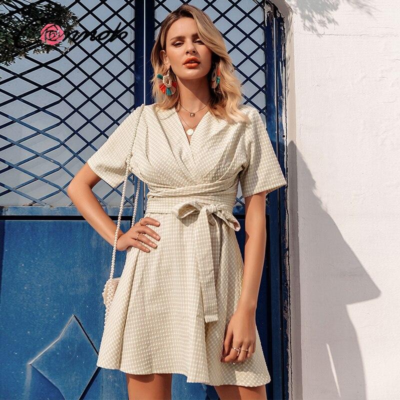 Conmoto Wrap Summer Beach Dress Women Bow Plaid Ruffles Short Dresses Casual Elegant Ladies Vintage Dress Vestidos